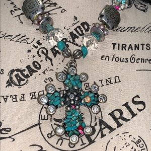 Chunky Turquoise Cross Necklace